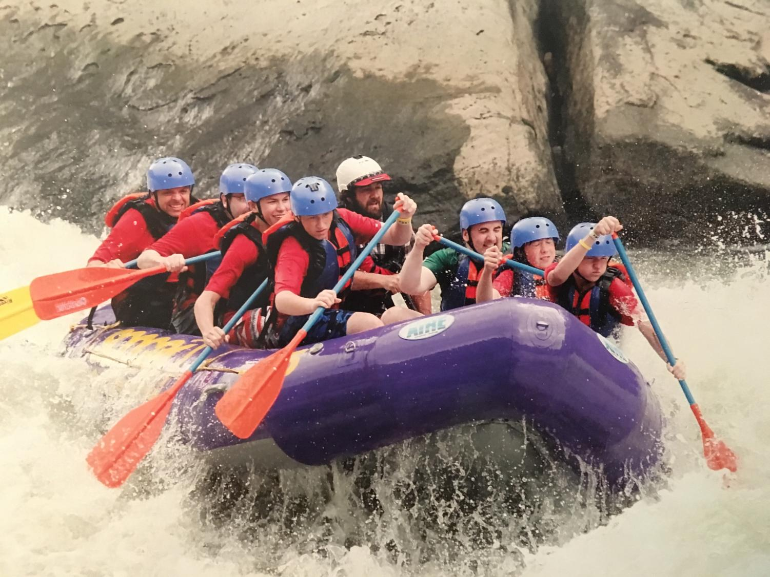 Members of Boy Scout Troop 385 engage in whitewater rafting on the New River in Virgina in 2015.