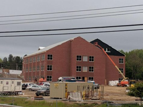 Construction workers assemble the new Bath Elementary School building in May.  Photo courtesy of Devin Zeller. Used with permission