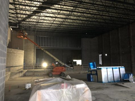 The auditorium under construction in the new high school.