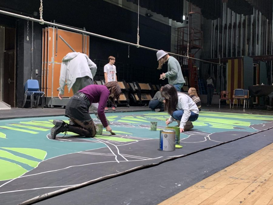 The Student Set Crew Works on Backdrops