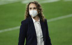 Suzie Dorner on the field before Super Bowl LV.