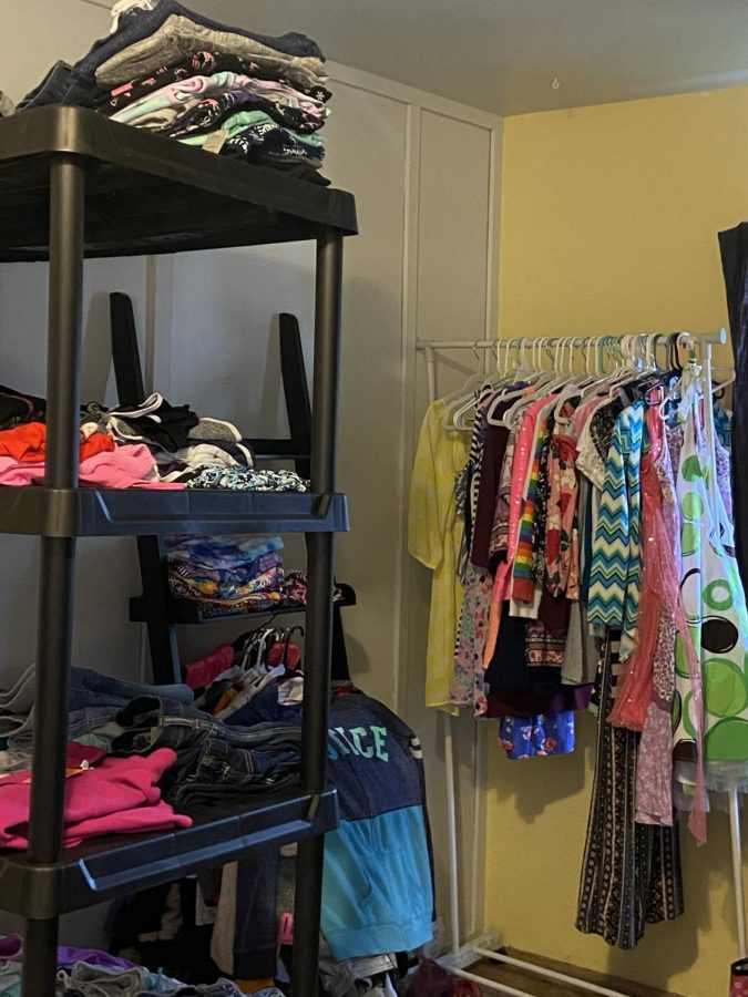 Some of the clothing options available for community members in need.